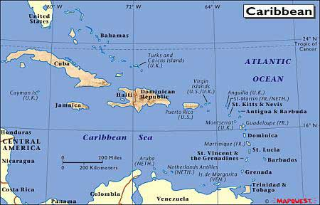 Island and city maps the caribbean stadskartor och turistkartor map of the caribbean sciox Images