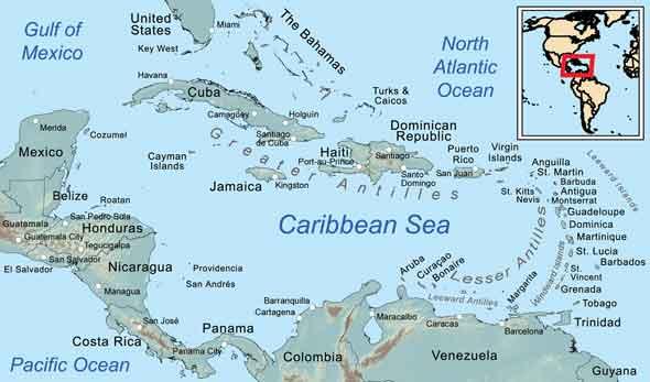 Island and City maps The Caribbean Stadskartor och turistkartor