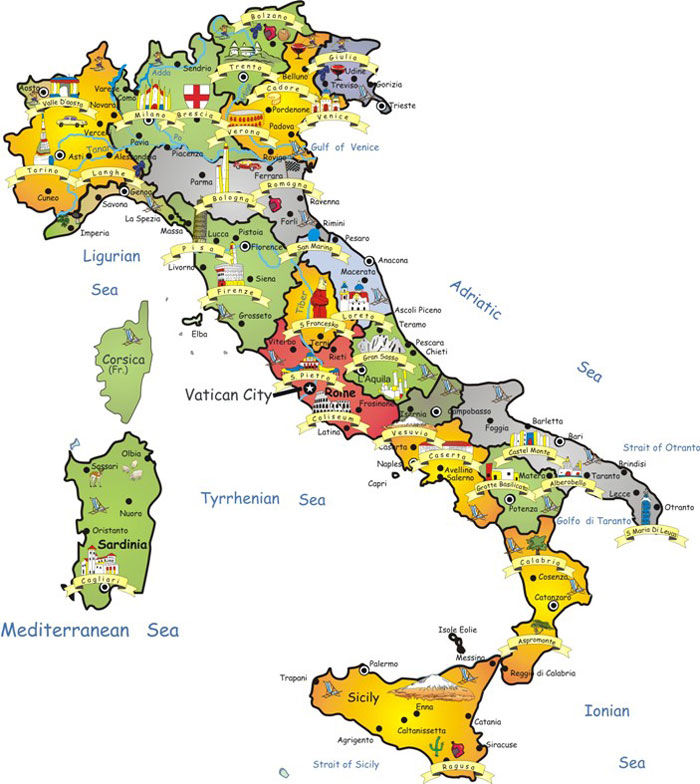 Map of Italy - Click on this map to se a larger version