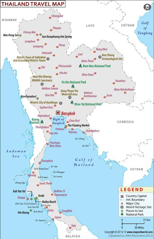 map of thailand usa city