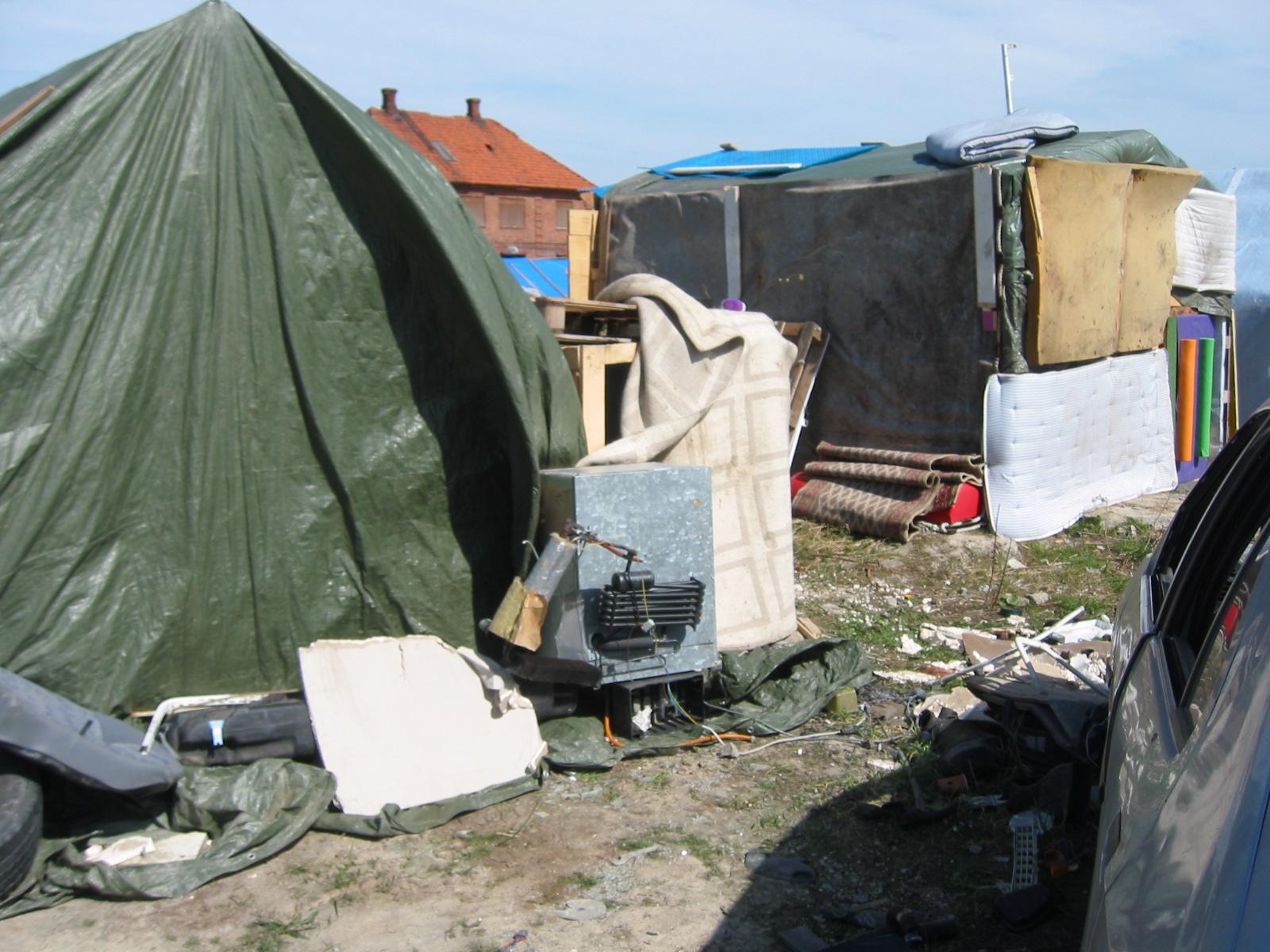 EU-migranters läger i Malmö, vid industrigatan, 2015-04-23