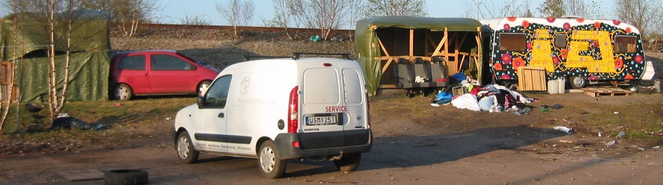 EU-migranters läger vid Singelgatan i Malmö, 2015-04-22