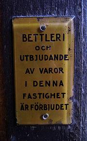 Bettleri förbjudet skylt