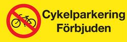 Cykelparkering förbjuden skylt