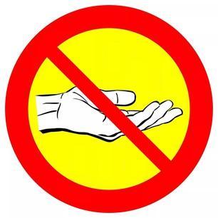 Tiggeri förbjudet skylt