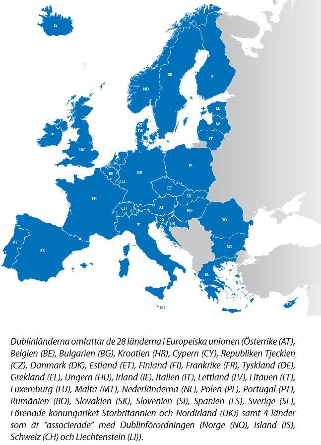 Länder som lyder under Dublinförordningen