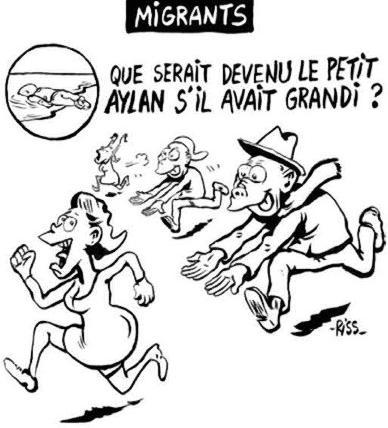 Alan Kurdi Charlie Hebdo satirteckning