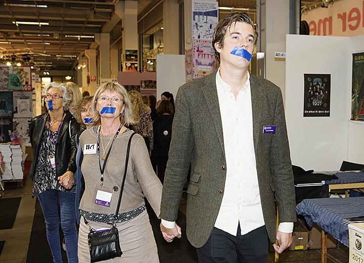 Bokmässan 2016, protest. Författarförbundets ordförande Gunnar Ardelius