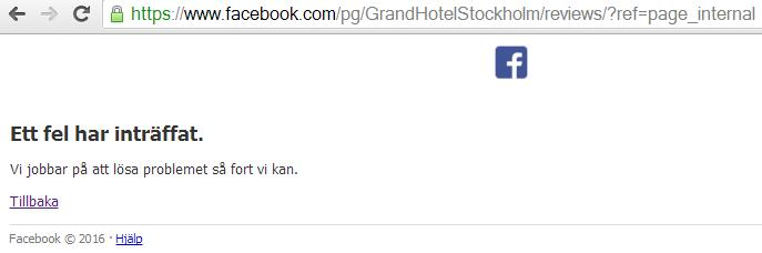 Facebook håller just nu på att censurera inlägg bland Grand Hotels reviews