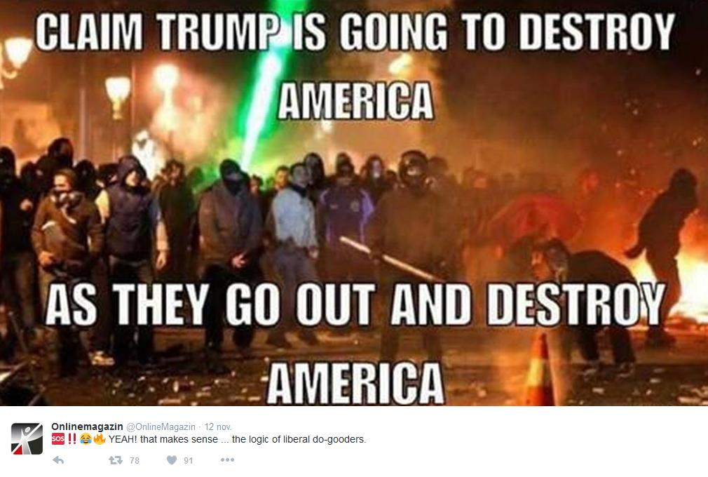 Vänsterextremister hävdar att Donald Trump kommer att förstöra USA, medan de förstör USA