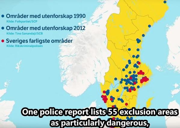 186 utanförskapsområden, 53-55 no go zones i Sverige