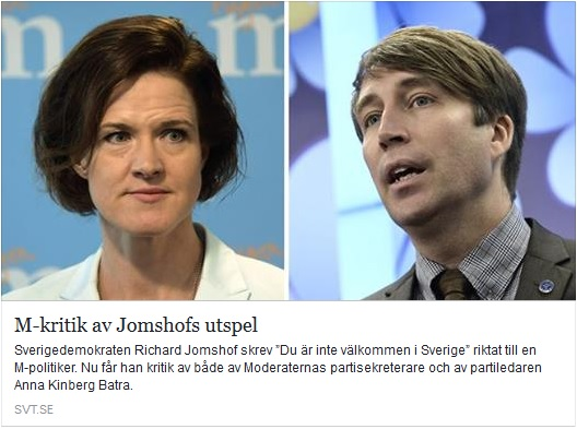 Moderaterna kritiserar Jomshof