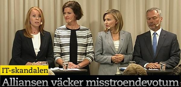 IT-skandalen. Annie Lööf (C). Presskonferens