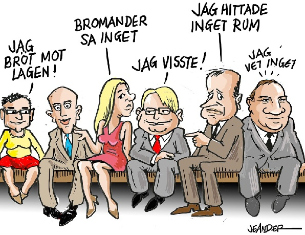 Alla skyller på alla med anledning av de bristande rutinerna i regering och i Sveriges säkerhet)