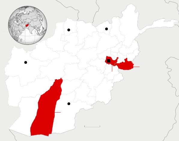 Säkerhetsläget i Afghanistan. Endast två provinser i Afghanistan klassificeras som osäkra