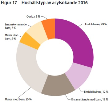 Flest män som söker asyl i Sverige