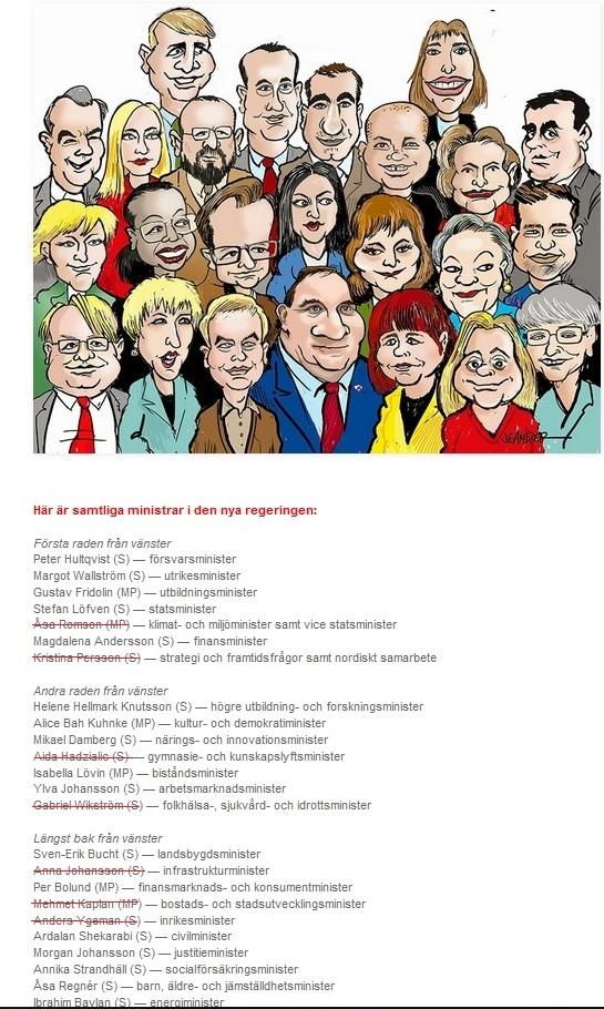 Statsråd/ministrar i Stefan Löfvens regering