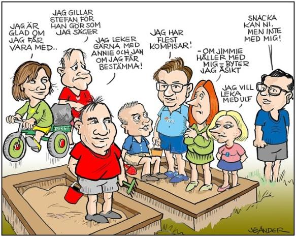 Partiledarna i sandlådan