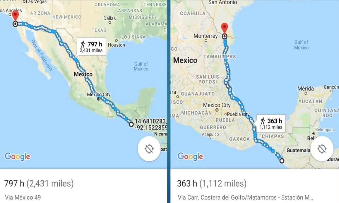 Karta över migranternas väg genom Mexiko