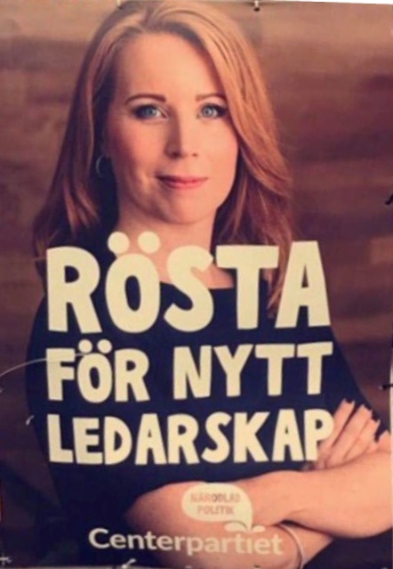 Rösta för nytt ledarskap, Annie Lööf, Centerpartiet valaffisch med Annie Lööf 2018