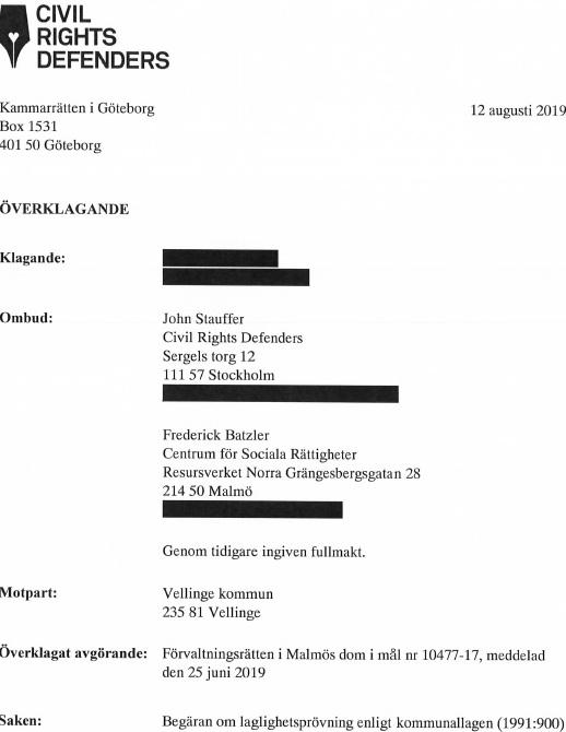 Civil Rights Defenders (CRS) och Centrum för sociala rättigheter (CSR) överklagar tiggeriförbud i Vellinge