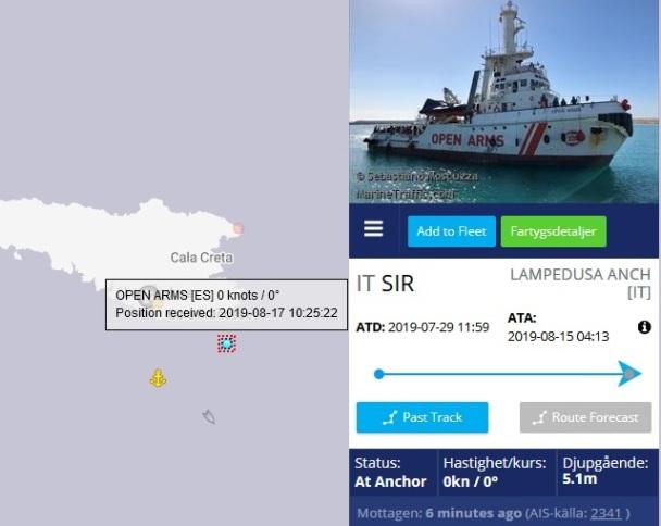 Följ fartygen Open Arms och Ocean Viking live i Medelhavet