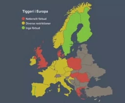 Länder som förbjudit tiggeri på nationell (Grekland, Italien, Polen, Rumänien, Malta, Spanien, Ungern) och lokal nivå (Österrike, Frankrike, Portugal, England, Belgien, Tjeckien, Irland, Tyskland, Nederländerna/Holland, Danmark, Grekland).