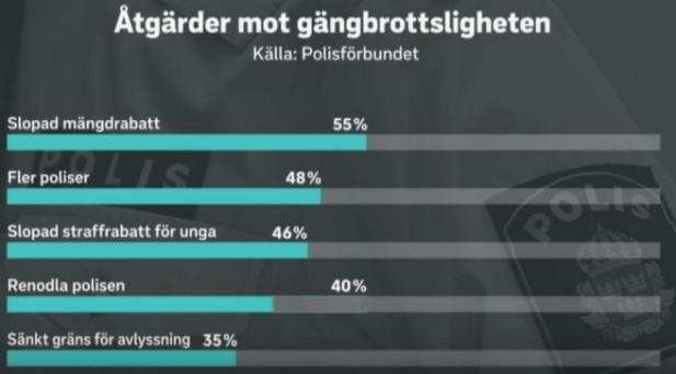 Polisens förslag på åtgärder mot gängbrottsligheten (organiserad brottslighet/gängkriminalitet) enligt hur Public Service ser på saken