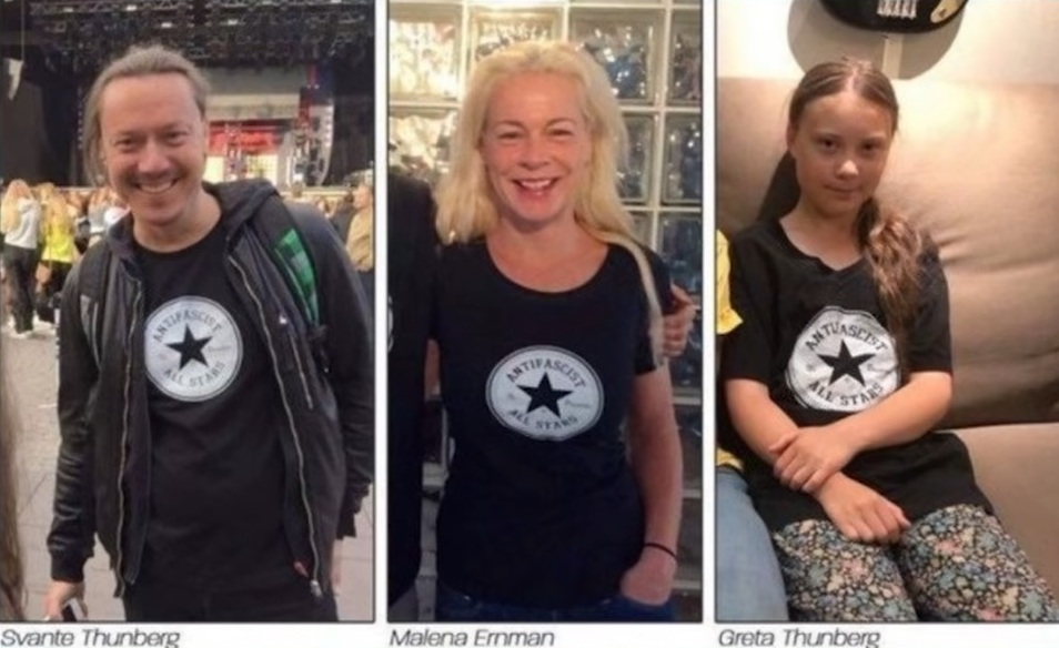 Greta Thunberg och hennes föräldrar, Malena Ernman och Svante Thunberg, stödjer den vänsterextrema, revolutionära, militanta AFA-rörelsen