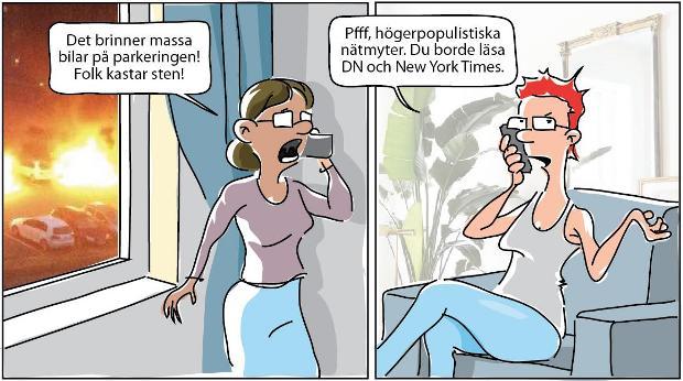 Kriminalitetsförnekare läser Dagens Nyheter (DN) eller New York Times