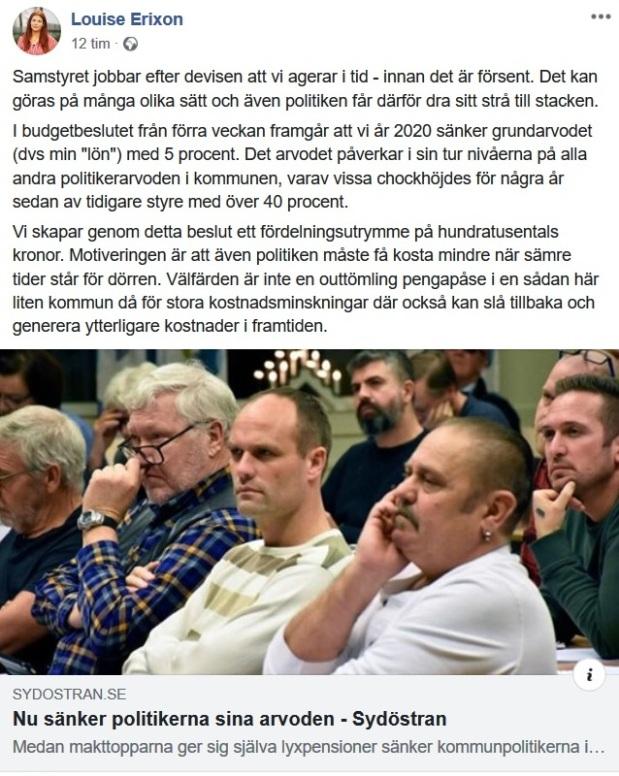 Politikerna i Sölvesborg sänker sina löner, informerar Louise Erixon (SD) om
