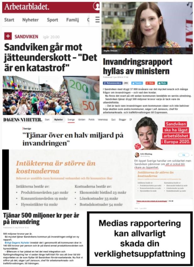 Sandviken/Sandvikenrapporten. 2014: Tjänar 500 miljoner kr/år på invandring. 2019: Sandvikens miljonförlust - fem år efter vinstrapporten. Budgetunderskott på 67 miljoner kronor 2019.
