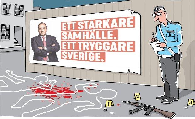 Socialdemokraternas valreklam: Ett starkare samhälle. Ett tryggare Sverige. Gängkriminalitet, organiserad brottslighet