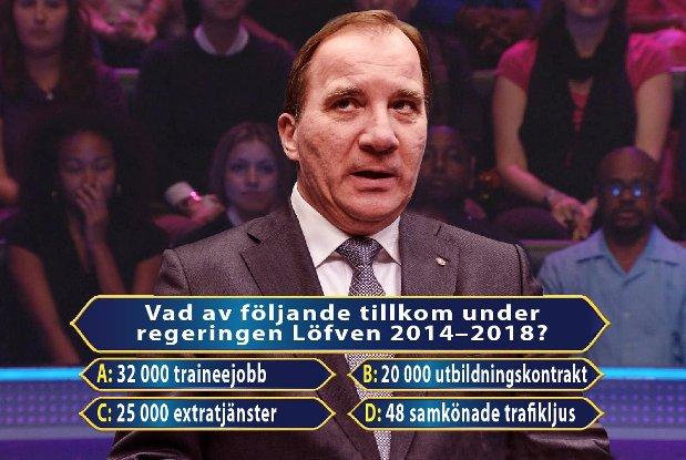 Traineejobb, extratjänster, utbildningskontrakt, samkönade trafikljus. Stefan Löfvens regering 2014-2018.