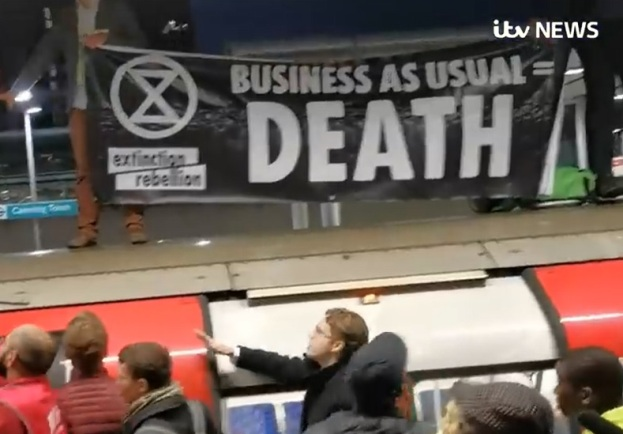 Extinction Rebellion, Business as usual, death, London subway train