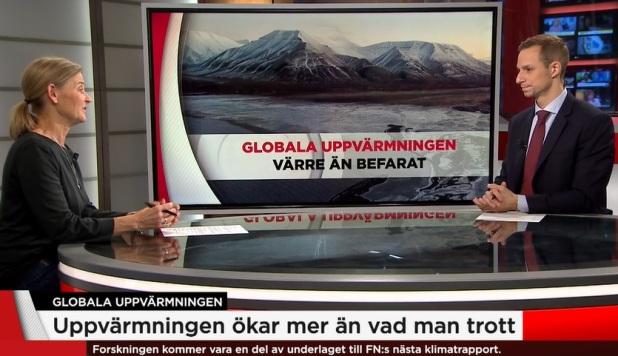 Susanna Baltscheffsky, TV4:s klimatreporter. Globala uppvärmningen. Uppvärmningen ökar mer än vad man trott. Forskningen kommer att vara en del av underlaget till FN:s nästa klimatrapport 2021. Temperaturhöjningen värre än befarat enligt forskare, hävdar TV4-nyheterna 2019-10-24