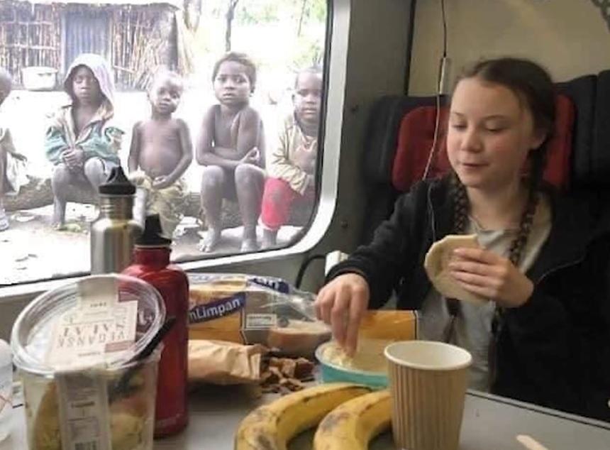 Greta Thunberg på tåget medan fattiga svälter