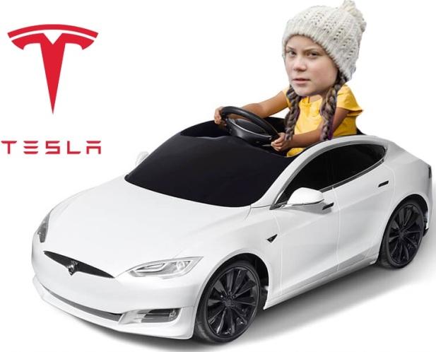 Greta Thunberg fick låna en Tesla av Arnold Schwarzenegger/Tesla