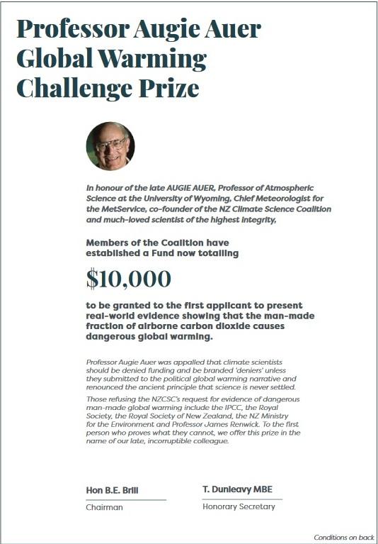 Professor Augie Auer Global Warming Challenge Prize 61 500 kr till den som kan bevisa att CO2 orsakar global uppvärmning