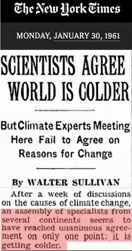 Forskarna överens, världen är kallare. New York Times 1961