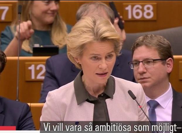Ursula von der Leyen, ordförande i EU-kommissionen (tidigare Tysklands försvarsminister, CDU), klimatlag