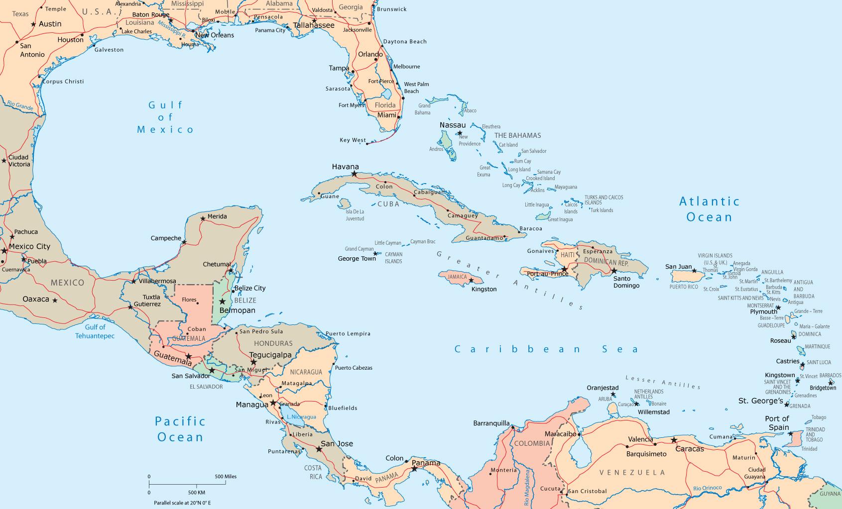 karibien karta Kartor Karibien. Maps Caribbean karibien karta