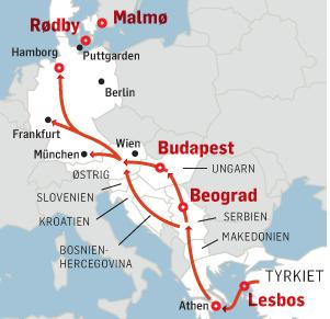 Migranternas transportsträcka genom EU till Tyskland och Sverige