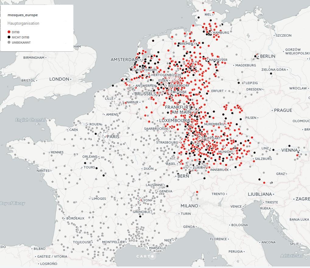 Karta över moskéer i Europa (främst Tyskland och Frankrike). OpenStreetMap