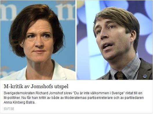 Moderaterna kritiserar Jomshof