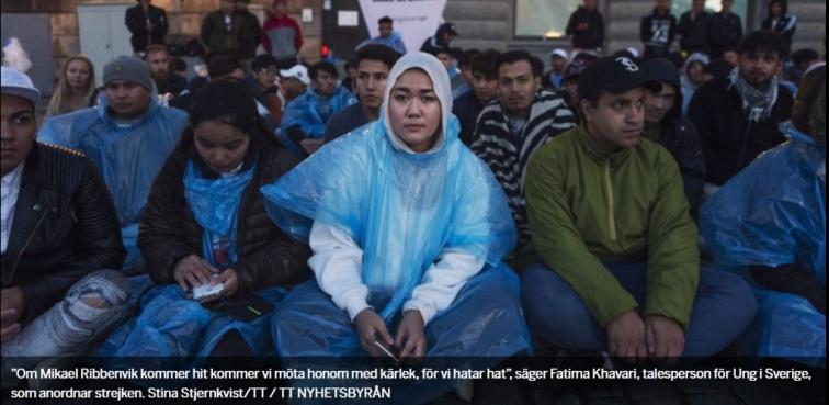 Afghanernas sittstrejk i Stockholm med 17-åriga Fatemeh Khavari som ledare