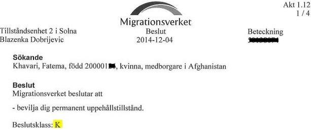 Fatema Khavari, permanent uppehållstillstånd, Migrationsverket