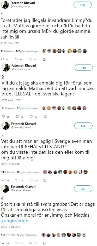 Fatemeh Kahvari hotar Jimmie Åkesson och Mattias Karlsson