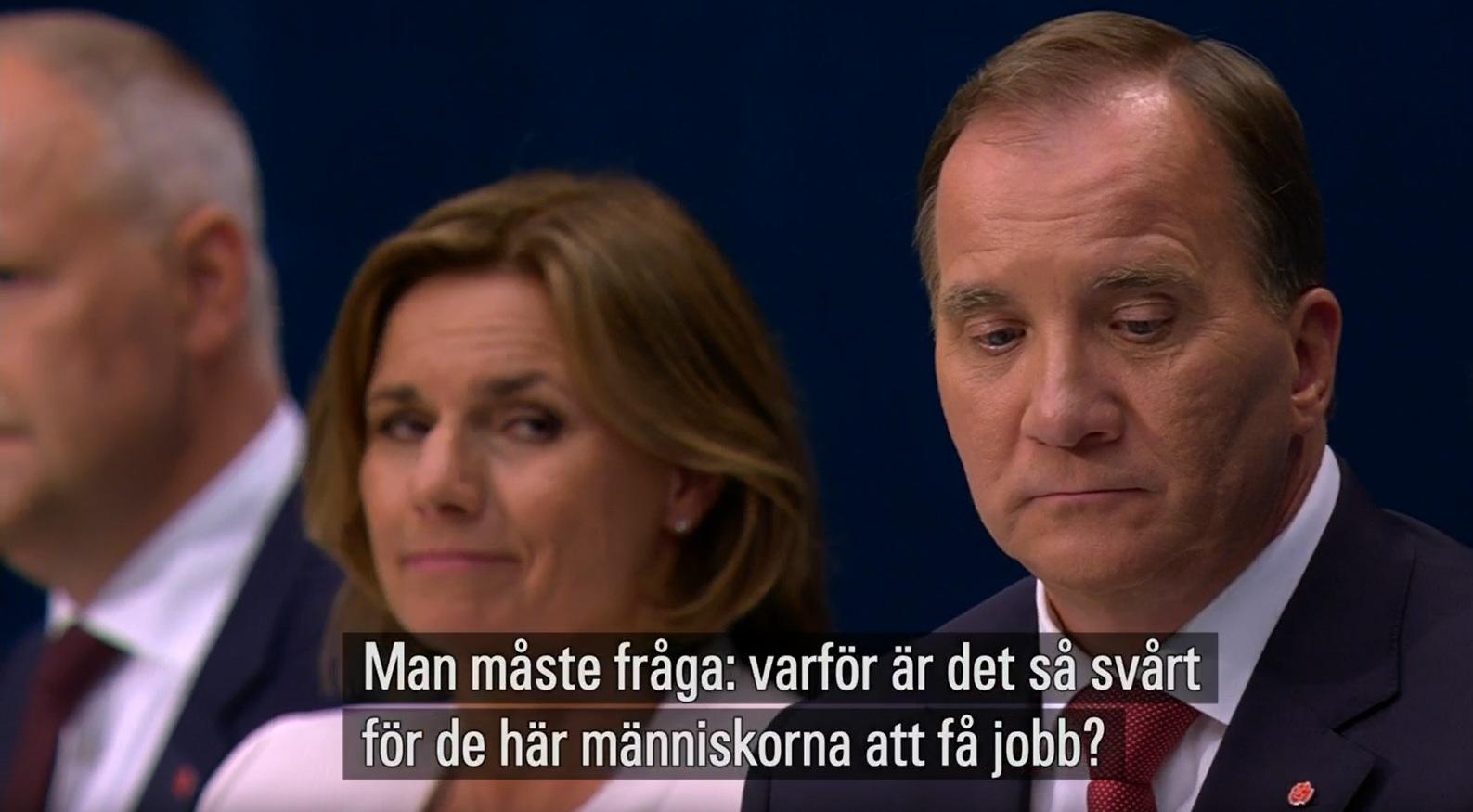 Stefan Löfven (S) och Isabella Lövin (MP). Varför så svårt för invandrare att få arbete?