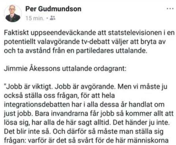 Kritik av SVT:s avståndstagande till Jimmie Åkesson